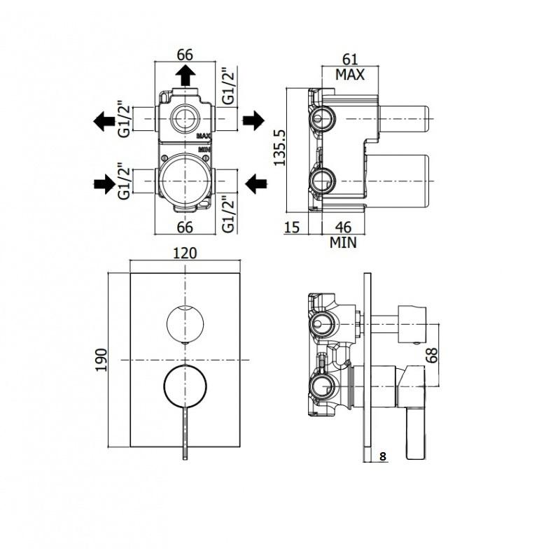 Змішувач для душа Paffoni Rock з перемикачем на 2 споживача, на металевій пластині RO018CR / M