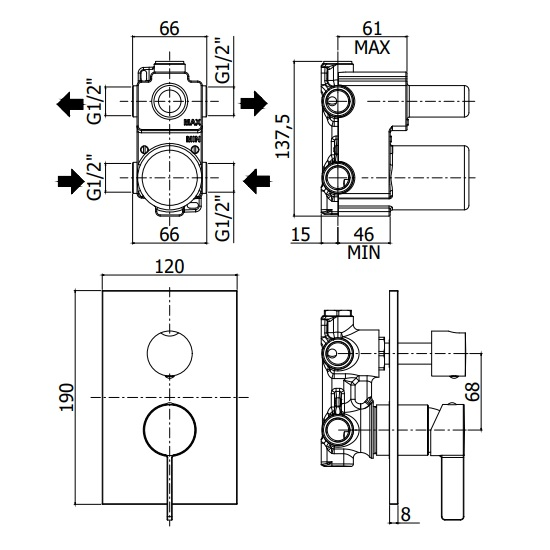 Змішувач для душа Paffoni Rock з перемикачем на 3 споживача, на металевій пластині RO019CR / M