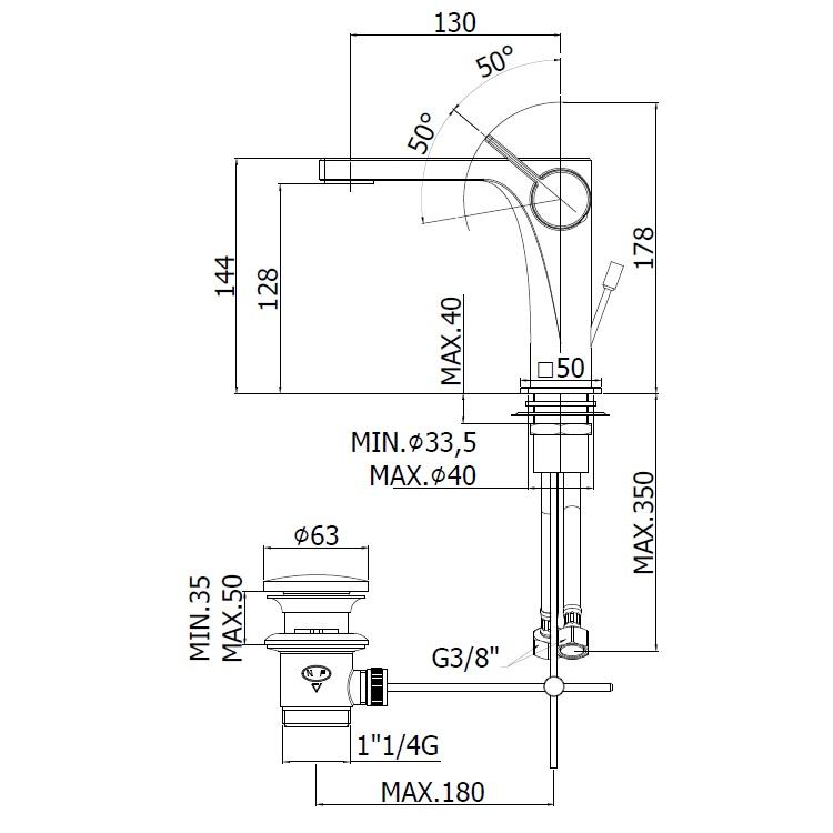 Змішувач для раковини Paffoni Rock на 1 відп. з донним клапаном RO075CR