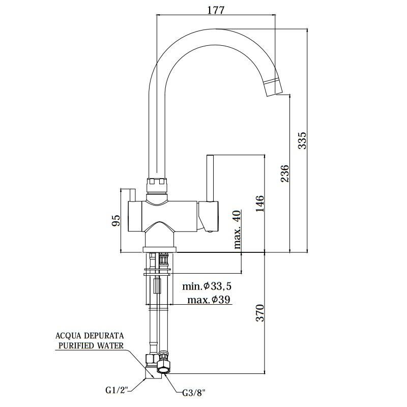 Кухонний змішувач Paffoni з підключенням для фільтрованої води SK190CR3VIE