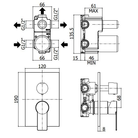 Змішувач для душа Paffoni Tango з перемикачем на 2 споживача, на металевій пластині TA018CR / M