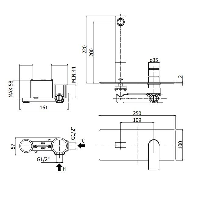 Змішувач для раковини Paffoni з виливом 200 мм TA105CR