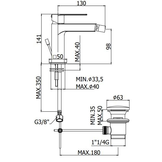 Змішувач для біде Paffoni Tango на 1 відп. з донним клапаном TA135CR