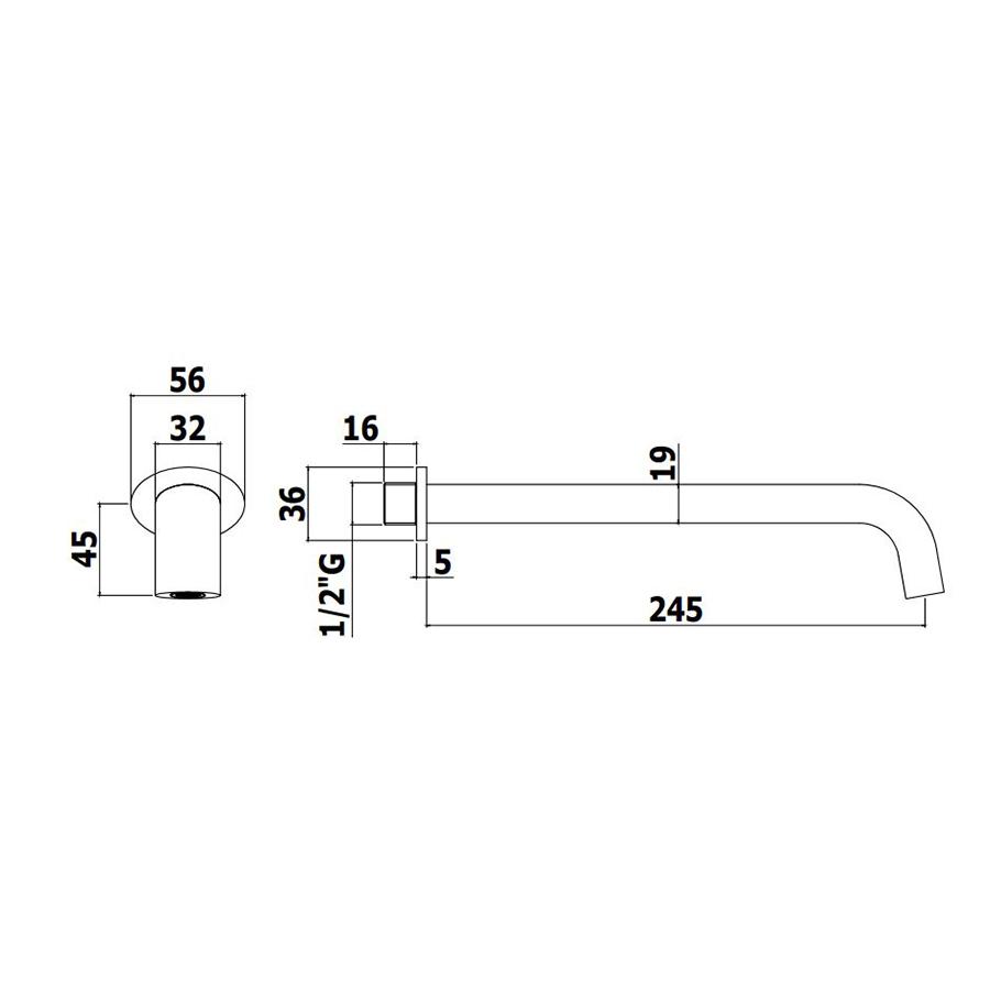 Вилив Paffoni Berry круглий для ванни зі стіни 3/4, L 245 мм ZCANA102CR