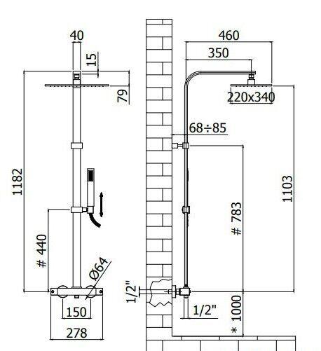 Душова колона Paffoni з термостатичним змішувачем ZCOL664NO