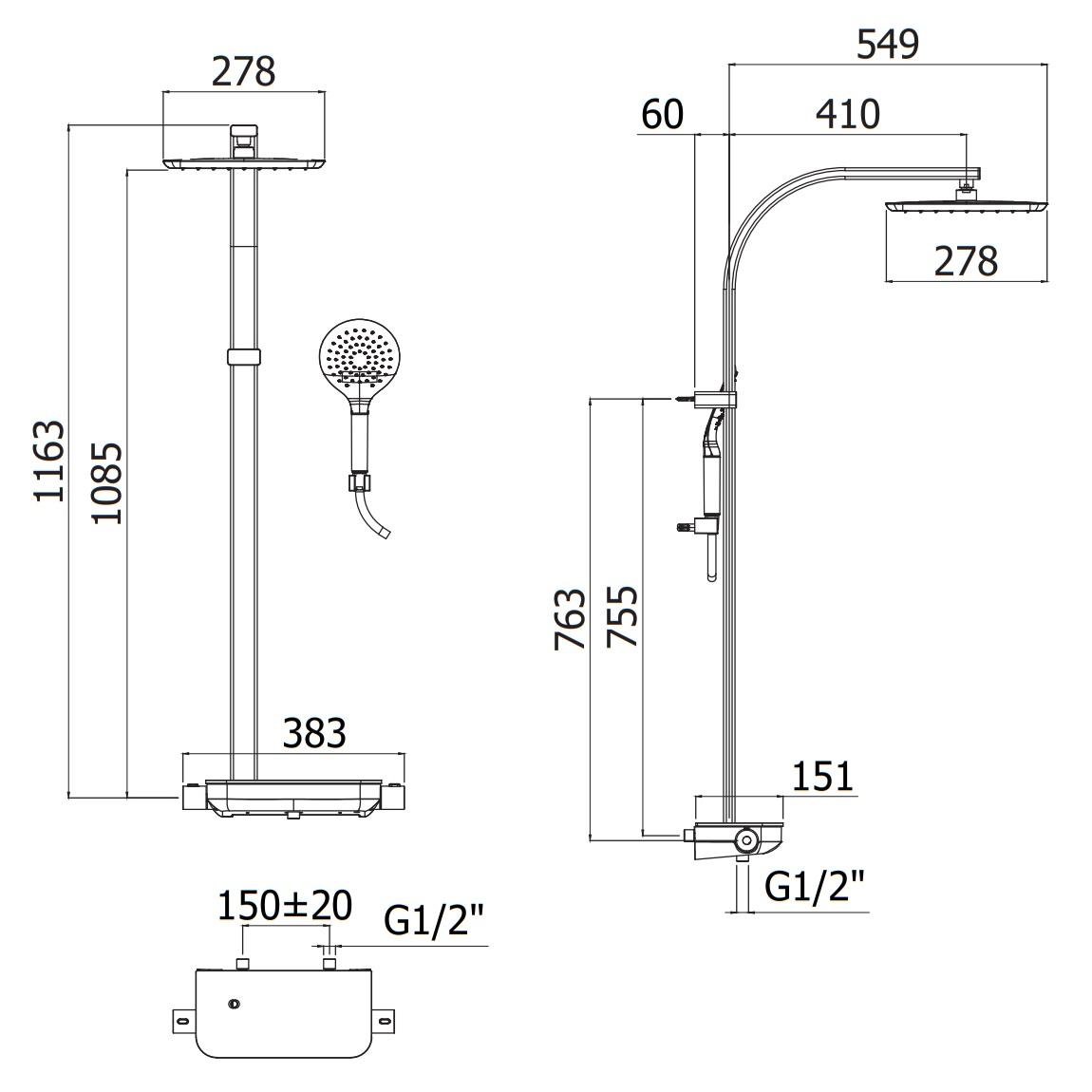Душова колона Paffoni з перемикачем і термостатом ZCOL667CRAG
