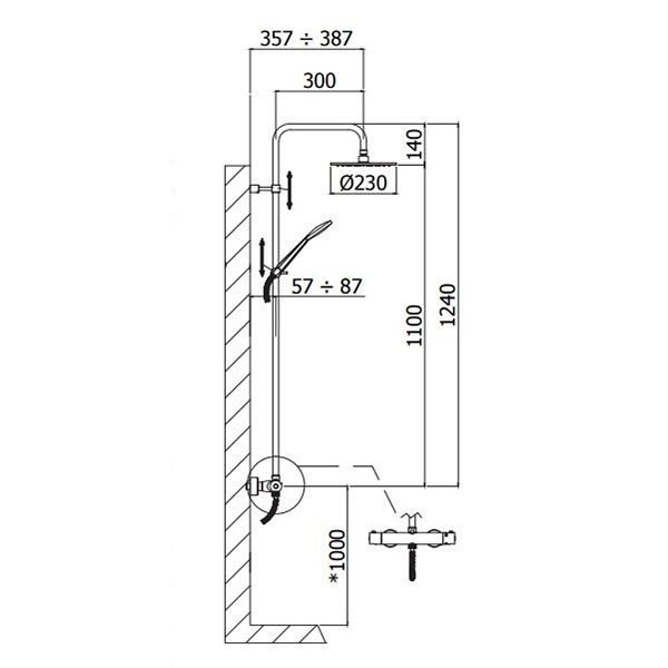 Душова колона Paffoni з перемикачем і термостатом ZCOL685LIQCR
