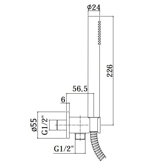 Ручний душ Paffoni Tondo з власником, шлангом 1500 мм і випуском зі стіни ZDUP094CR