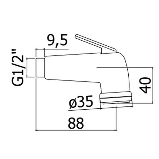 Гігієнічний душ в комплекті зі шлангом і утримувачем ZDUP099CR