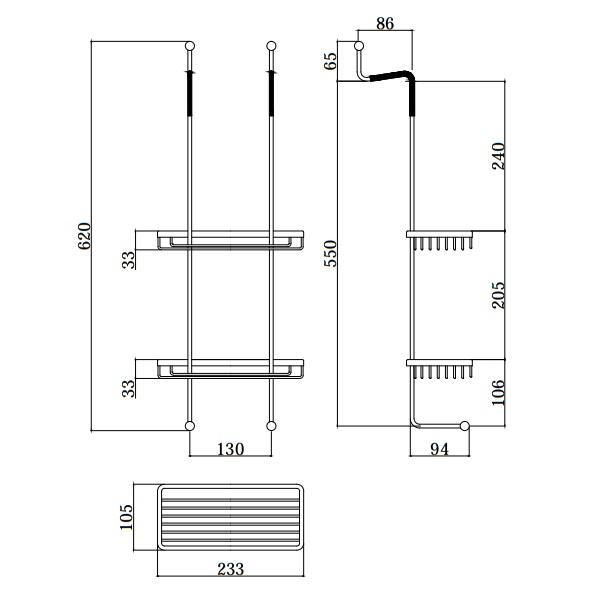 Прямокутна мильниця-корзинка Paffoni подвійна для кріплення на скло ZPOR008CR