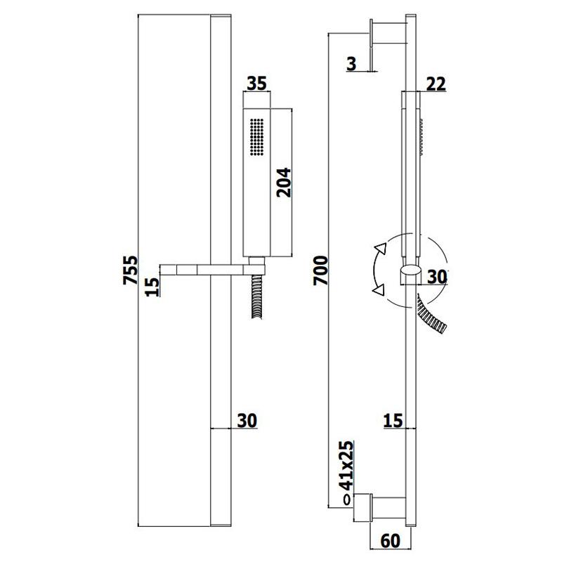 Душовий гарнітур Paffoni на штанзі з ручним душем, шлангом 1500 мм ZSAL102CRAG