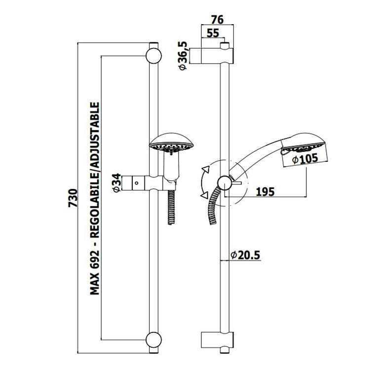 Душовий гарнітур Paffoni на штанзі з ручним душем (4 типи струменя), шлангом 1500 мм ZSAL120CR
