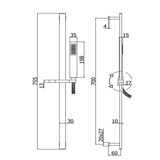 Душовий гарнітур Paffoni на штанзі з ручним душем, шлангом 1500 мм ZSAL145CRAG