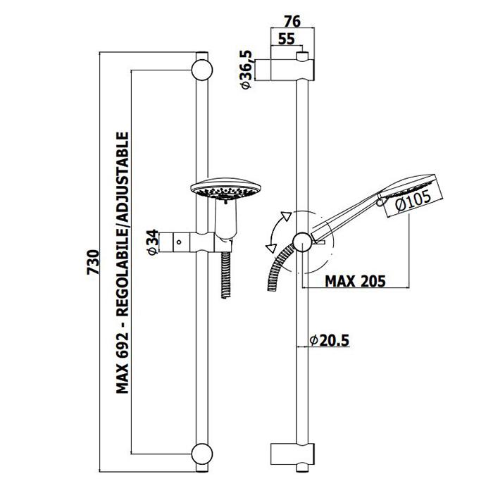 Душовий гарнітур Paffoni на штанзі з ручним душем (4 типи струменя), шлангом 1500 мм ZSAL194CR
