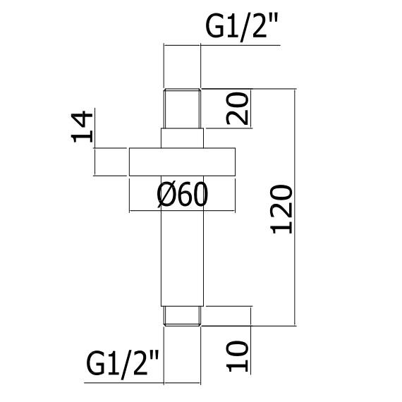 Тримач верхнього душу Paffoni зі стелі 200 мм ZSOF065CR