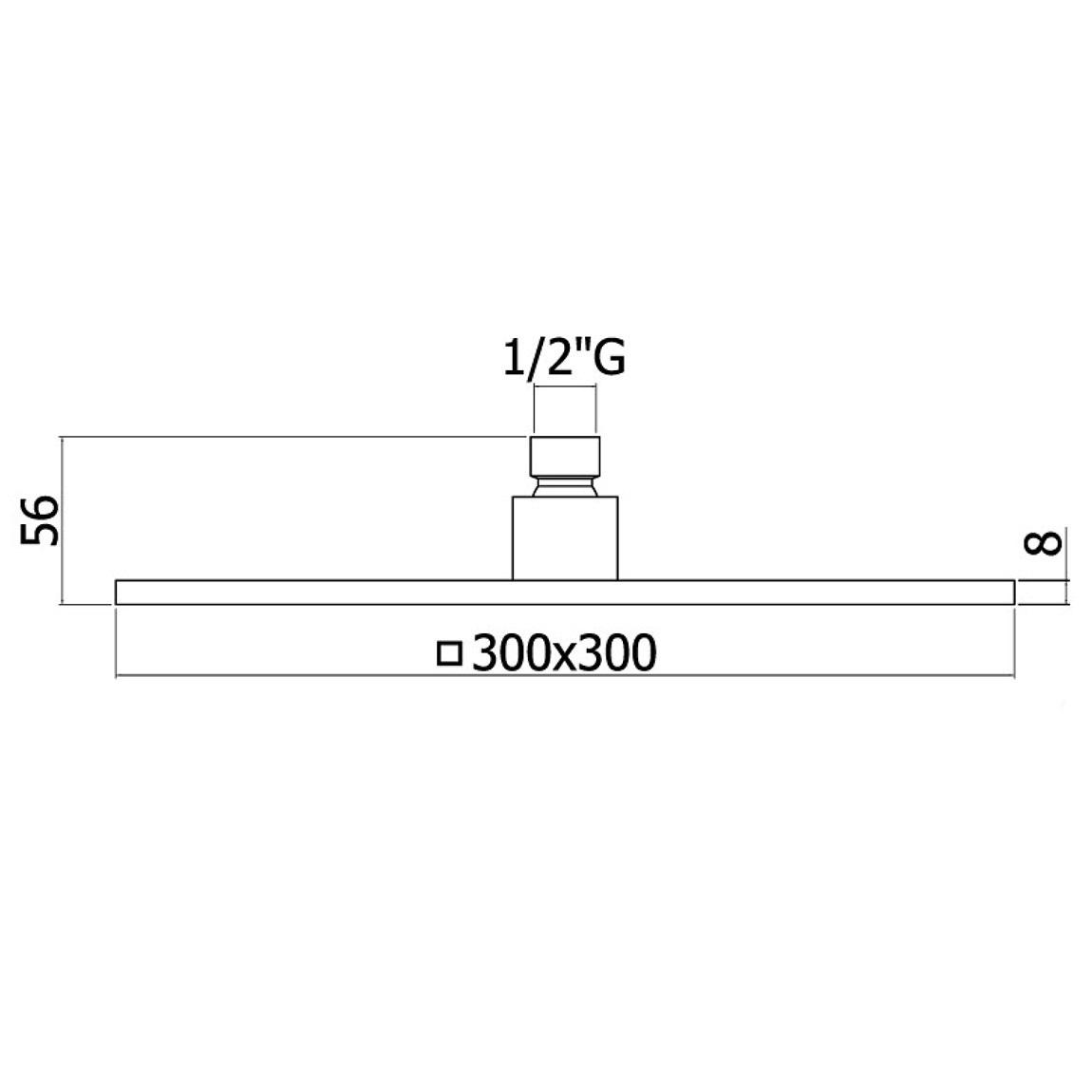 Верхній душ Paffoni квадратний 300х300 мм ZSOF078NO