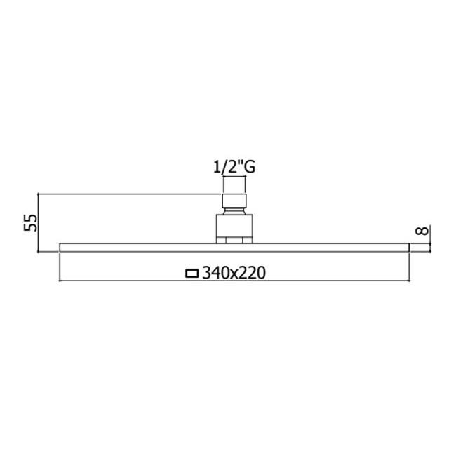 Верхній душ Paffoni прямокутний 340х220 мм ZSOF091CR