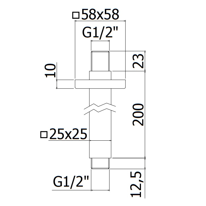 Тримач верхнього душу Paffoniс стелі квадратний 200 мм ZSOF119CR