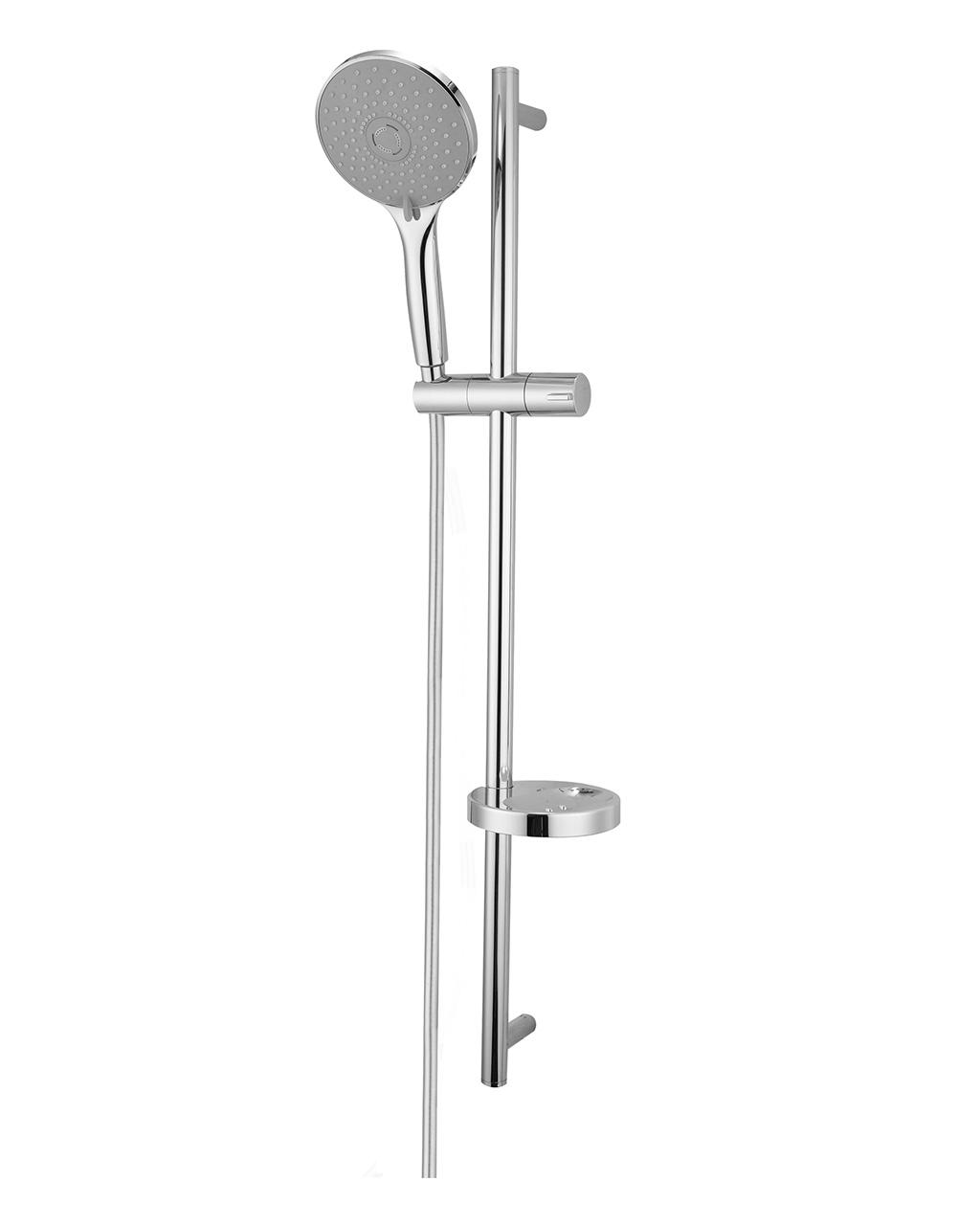 Душевая штанга IMPRESE NETKA  L-90см,мыльница,ручной душ 3 реж,шл 1,5м полимер с мет.эффектом  вращ.конус(Anti-Twist) 9014003