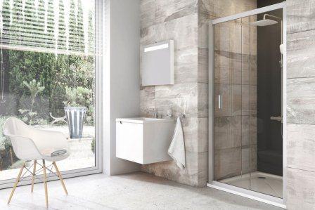 Двери для душевой кабины Ravak BLDP 2-110 transparent, профиль белый, полированный алюминий, стекло