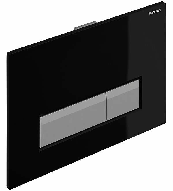 Клавиша для двойного смыва GEBERIT Sigma 40 DuoFresh (со встроеной системой удаления запаха) черная/матовый алюминий (115.600.KR.1)