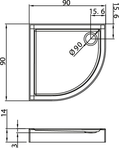 Душевой поддон New Trendy Columbus 100х100×14 B-0253
