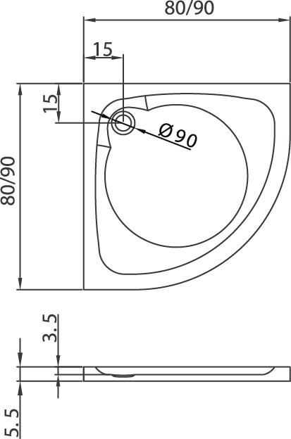 Душевой поддон New Trendy Cantare 90х90×5,5 B-0160