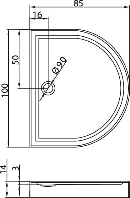 Душевой поддон New Trendy Circus 100х85×14 B-0102