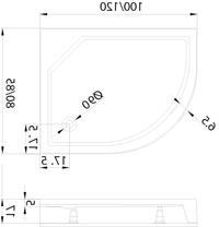 Душовий піддон New Trendy New Maxima 120х85×17 B-0284 / L