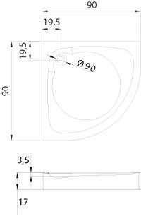 Душевой поддон New Trendy Cantare 90х90×17 B-0228