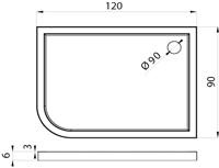 Душовий піддон New Trendy Arena 120х90×6 B-0263 / L