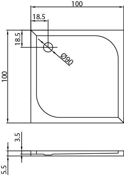 Душовий піддон New Trendy Cantare 100х100×5,5 B-0138