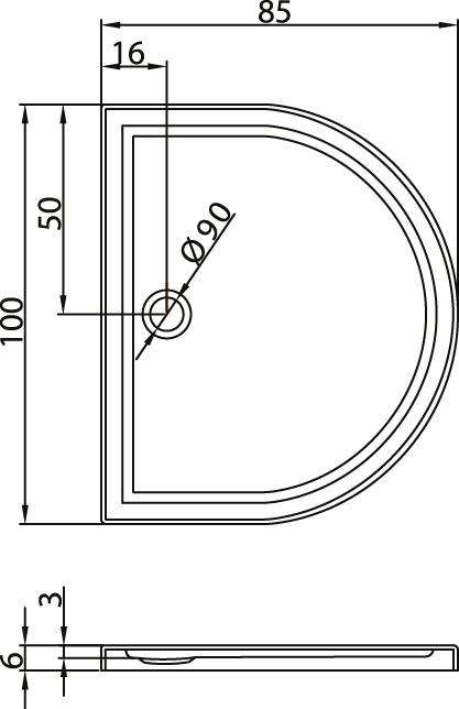Душовий піддон New Trendy Circus Ultra 100х85×6 B-0126