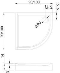 Душовий піддон New Trendy Columbus 80х80×14 B-0286