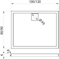 Душовий піддон New Trendy Lido 120х90×6 B-0274