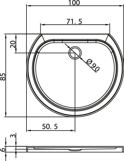 Душовий піддон New Trendy Rondo Ultra 100х85×6 B-0157