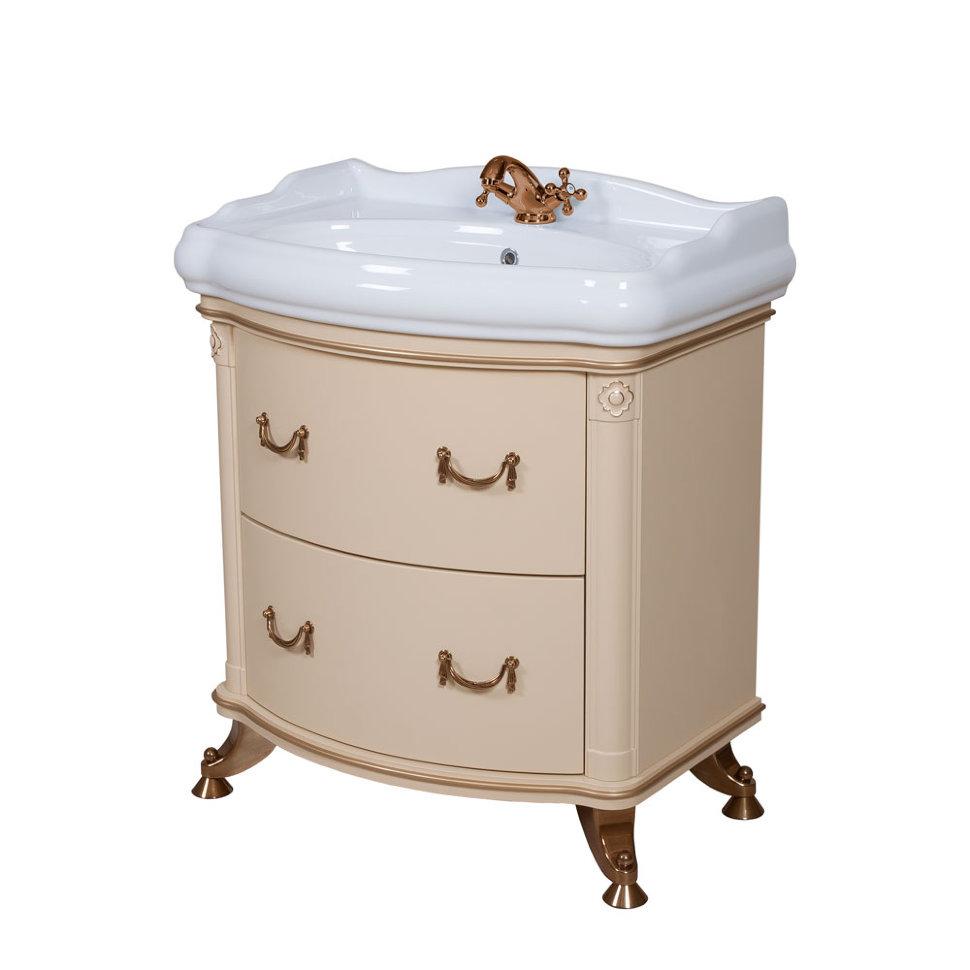 Мебель Аква Родос «АРТ ДЕКО» с умывальником «1837» 80 см (айвори)