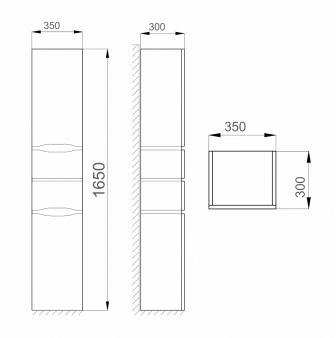 Пенал Sanwerk «ALESSA AIR» 35 цв. серый R, 4F, K MV0000370