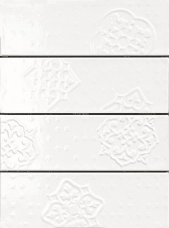 Плитка настенная Ragno Brick Glossy Decoro White 10×30 R4Gp