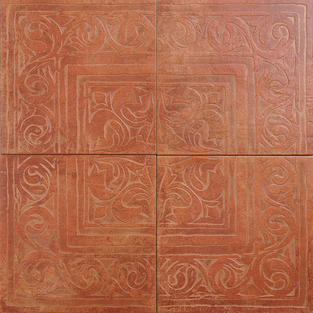 Керамогранит Zeus Ceramica Casa Cotto Classico Декор Из 4-Х Плиток Rosone Rosso 65х65 Rax22