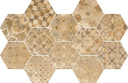 Керамогранит Ragno Epoca Decoro Cementine Ocra 18,2×21 R55T