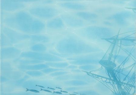Декор Березакерамика Лазурь Корабль 3 25×35 бирюзовый