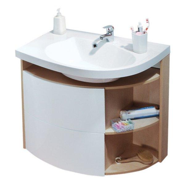 Шкафчик для раковины Ravak SDU Rosa Comfort L 78x50x68, корп береза / белый