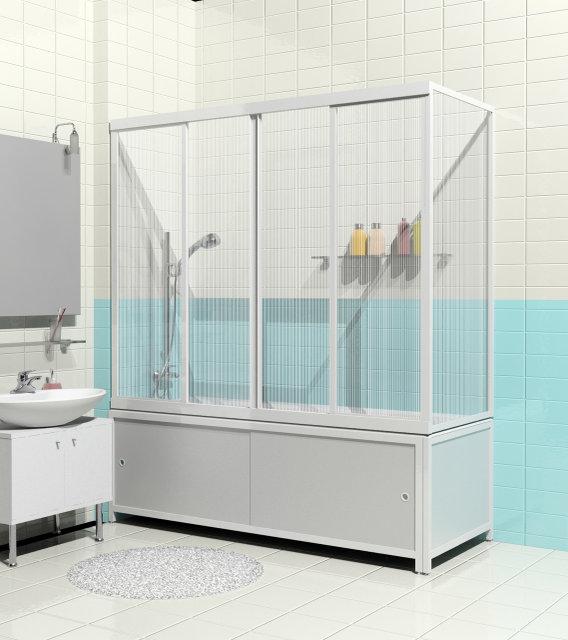 Штора на ванну Метакам 2-х створчатая, раздвижная КУПЕ, 170 см