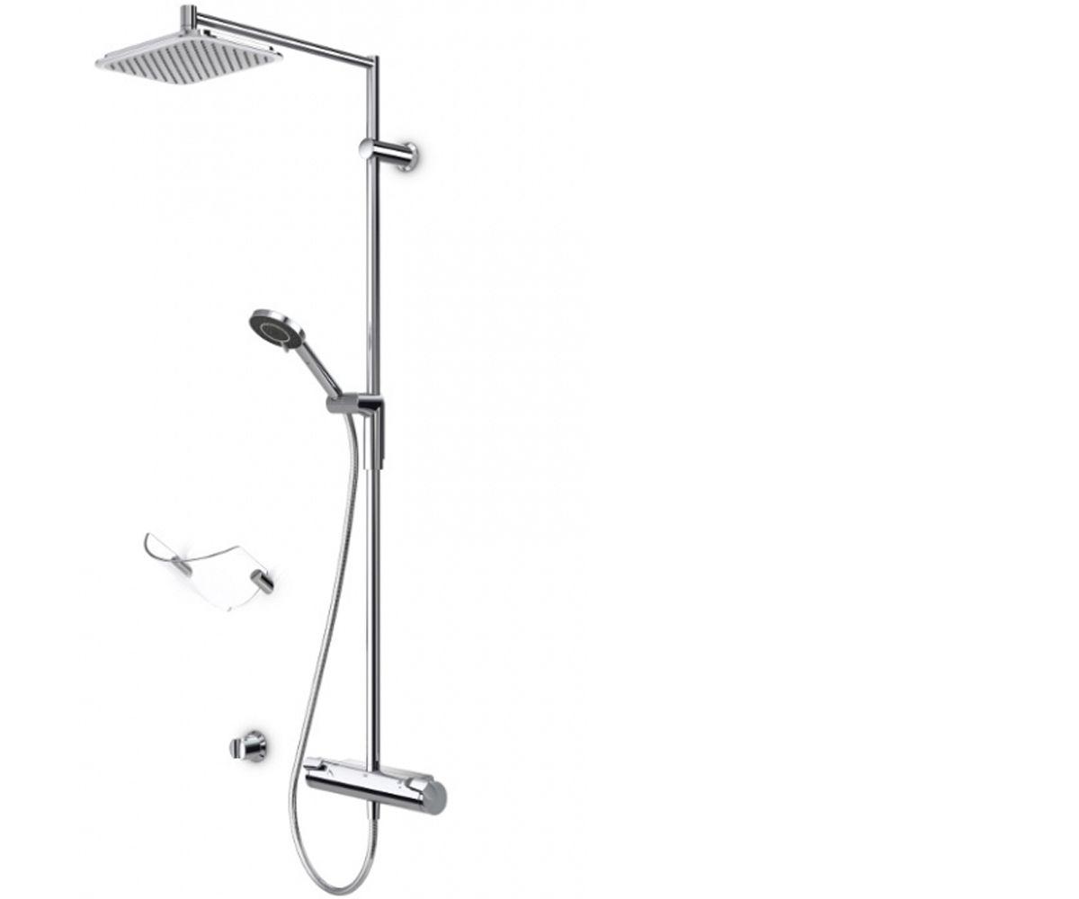 Душевой гарнитур ORAS OPTIMA (Ручная лейка, верхний душ, держатель для душа, кронштейн, душевая штанга, шланг душевой, смеситель) (7192U)
