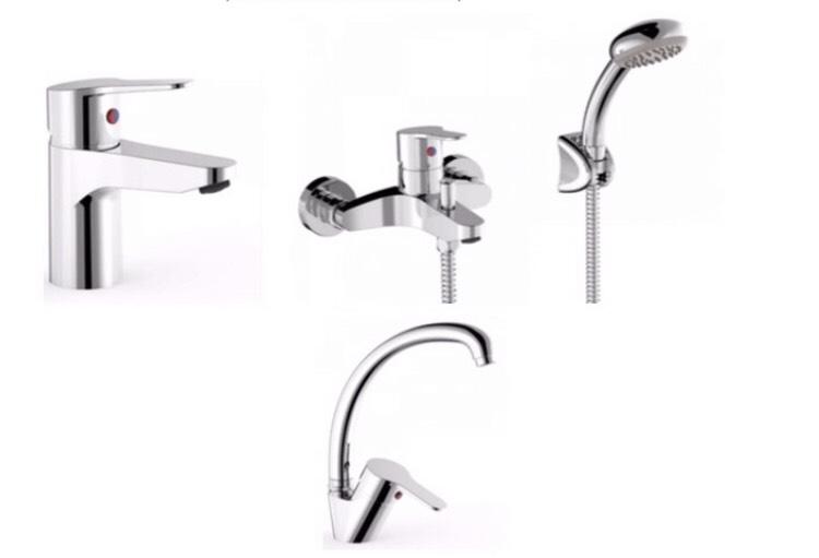 Набор смесителей для ванной и кухни Tres Base 1 (4в1)