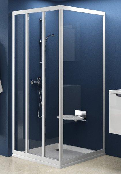 Стінка для душової кабіни Ravak APSS-75 transparent, профіль білий, скло