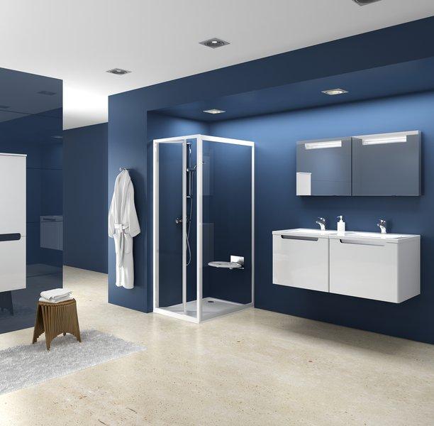 Стінка для душової кабіни Ravak PSS-90 pearl, профіль білий, полістирол