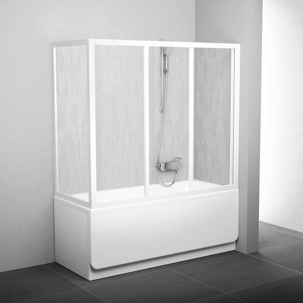 Стінка для ванни Ravak APSV-75 transparent, профіль білий, скло