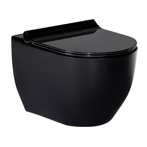 Унитаз Volle BLACK AMADEUS подвесной черный, сиденье твердое Slim slow-closing 13-06-055Black